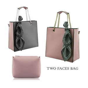 Stylish Woman Faux Leather 2-in-1 Two Colour Front Handbag Shoulder Bag Cross-body Bag - 504 Pink