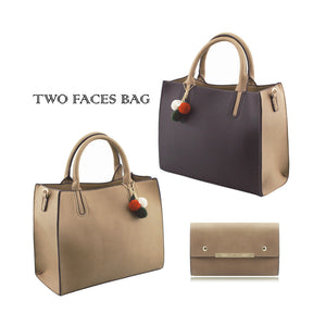 Stylish Woman Faux Leather 2-in-1 Two Colour Front Handbag Shoulder Bag Crossbody Bag Purse - 505 Khaki