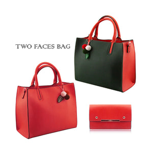 Stylish Woman Faux Leather 2-in-1 Two Colour Front Handbag Shoulder Bag Crossbody Bag Purse - 505 Red
