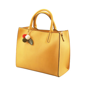 Stylish Woman Faux Leather 2-in-1 Two Colour Front Handbag Shoulder Bag Crossbody Bag Purse - 505 Yellow