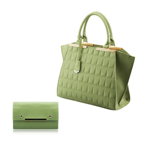 Stunning Ladies 3D Faux Leather 2-in-1 Handbag Shoulder Bag Purse Cross-body Bag - 86135 Green