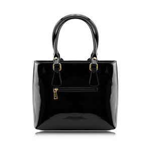 Stunning Shiny Patent Faux Leather Ladies Handbag Shoulder Bag - 8618 Black