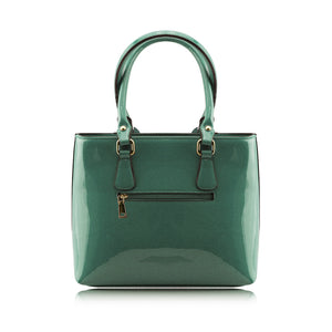 Stunning Shiny Patent Faux Leather Ladies Handbag Shoulder Bag - 8618 Green