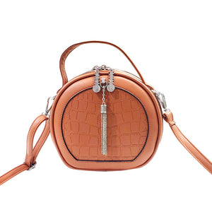 New Lady's Round Shape Shoulder Bag Cross body Messenger PU Leather Handbag Purse Brow 999