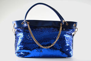 Stylish Ladies Sequence Faux Leather Handbag Shoulder Bag F51 Blue