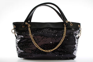 Stylish Ladies Sequence Faux Leather Handbag Shoulder Bag F51 Black