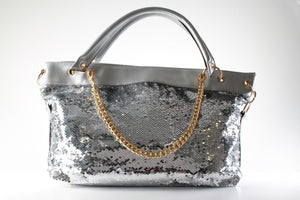 Stylish Ladies Sequence Faux Leather Handbag Shoulder Bag F51 Silver