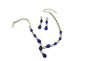 Statement Crystal Set - Necklace & Earrings - AZ0004 Blue