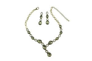 Statement Crystal Set - Necklace & Earrings - AZ0004 Bronze