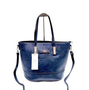 Womens Tote Shopper Handbag Shoulder Cross Bag Vegan PU Leather Brand MoliMoi London Fashion Bag F46-1 Navy Blue