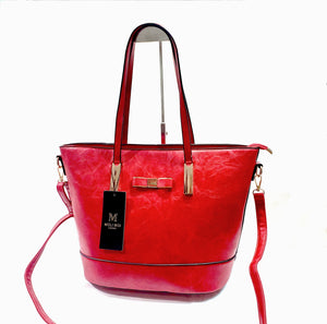 Womens Tote Shopper Handbag Shoulder Cross Bag Vegan PU Leather Brand MoliMoi London Fashion Bag F46-1 Red