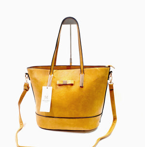 Womens Tote Shopper Handbag Shoulder Cross Bag Vegan PU Leather Brand MoliMoi London Fashion Bag F46-1 Mustard