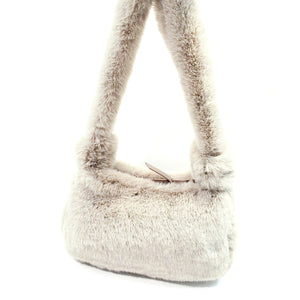 Faux Fur Shoulder Bag Light Weight Handbag -Fur 11 Khaki