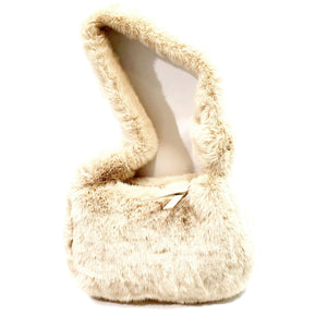 Faux Fur Shoulder Bag Light Weight Handbag -Fur 11 Light Brown