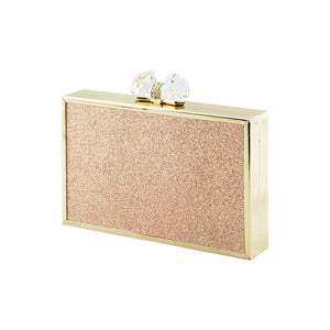 Ladies Sparkly Box Stylish Party Wedding Bridal Prom Clutch Evening Bag - H66 (Clutch) Champagne Gold