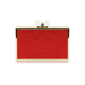 Ladies Sparkly Box Stylish Party Wedding Bridal Prom Clutch Evening Bag - H66 (Clutch) Red