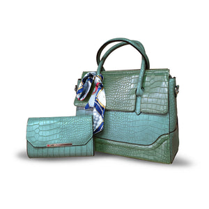 MoliMoi London Stylish Womens Faux Croc Pattern Teal Blue 2-in-1 Shoulder Tote Handbag  Purse Bag M427 D-Teal