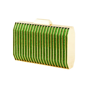 Stunning Fashionable Sparkle Glitter Metal Clutch Bag Evening Bag - W93 Green