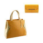 2 pieces 2 Faced Tote Shoulder Crossbody Handbag Grab Purse Vegan PU Leather Brand MoliMoi London Fashion Bag Mustard and Beige Y53