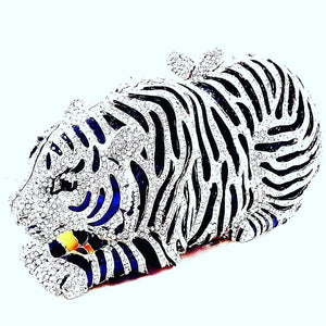 Unique Tiger Shape Clutch Evening Party Grab Shoulder Handbag