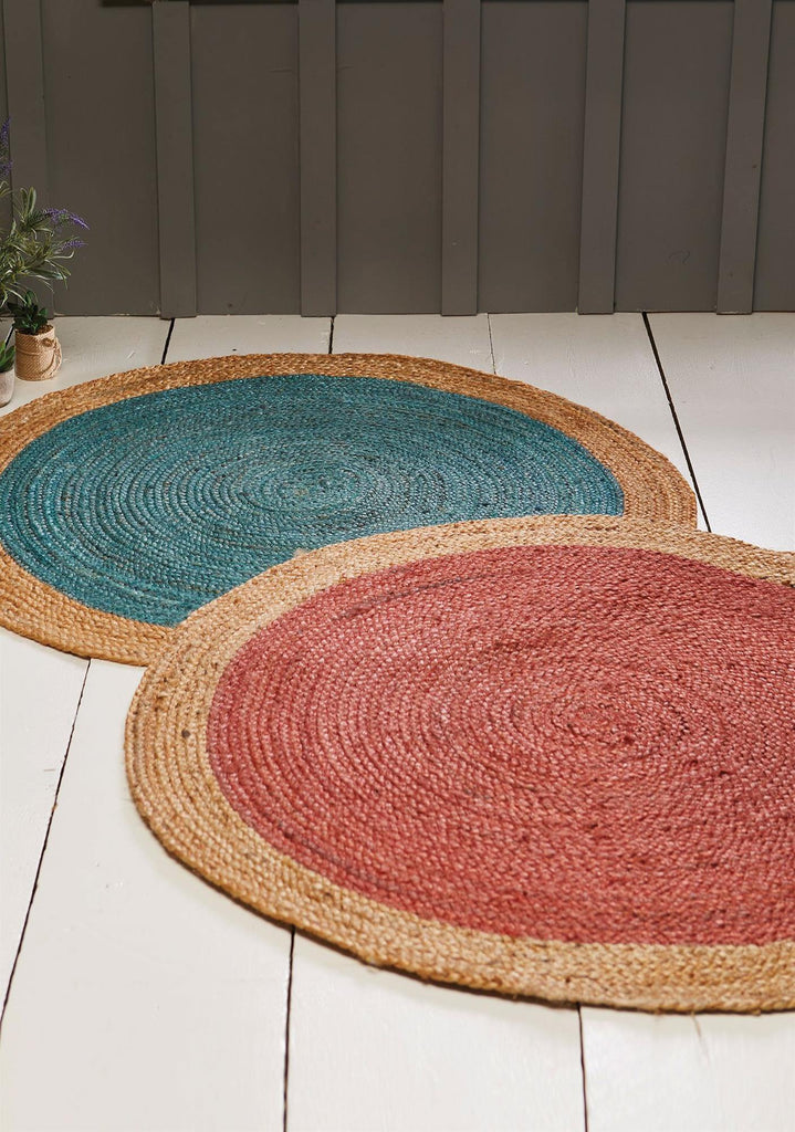 Coloured Jute Rug With Natural Border