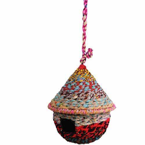 Recycled Fabric Round Bird House