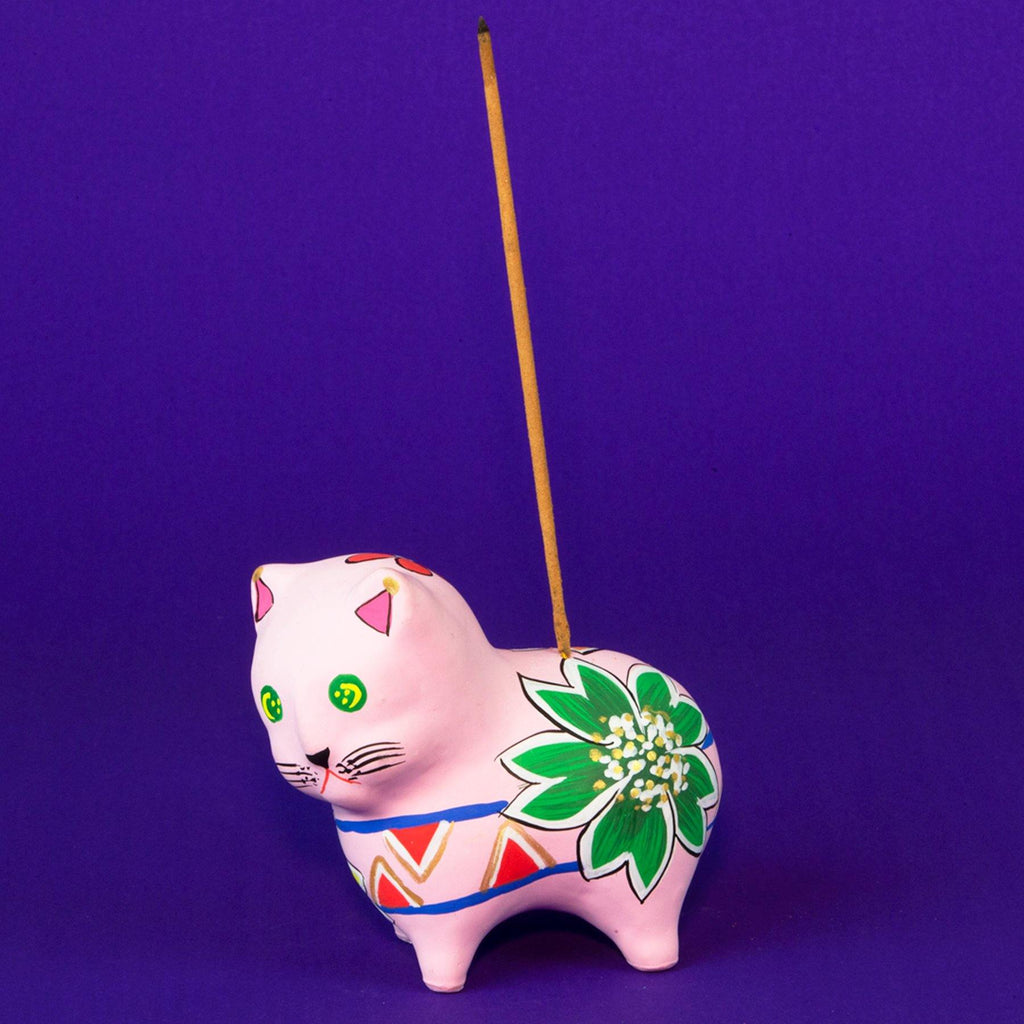 Pink Cat Hand Painted Clay Incense Holder