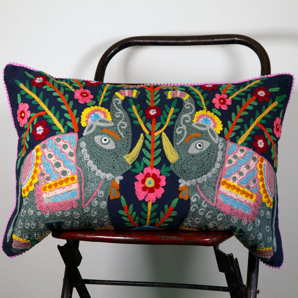 Navy Embroidered Elephant Cushion