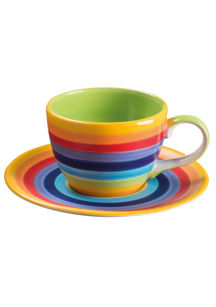 Handpainted Rainbow Stripe Coffee Cup & Saucer