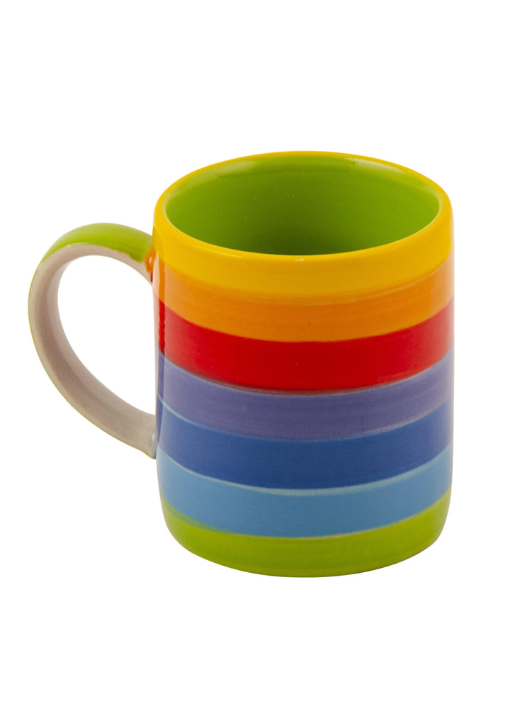 Hand Painted Rainbow Stripe Espresso Mug