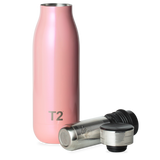 T2 Stainless Steel Etched Lid Flask Pearlised Pink