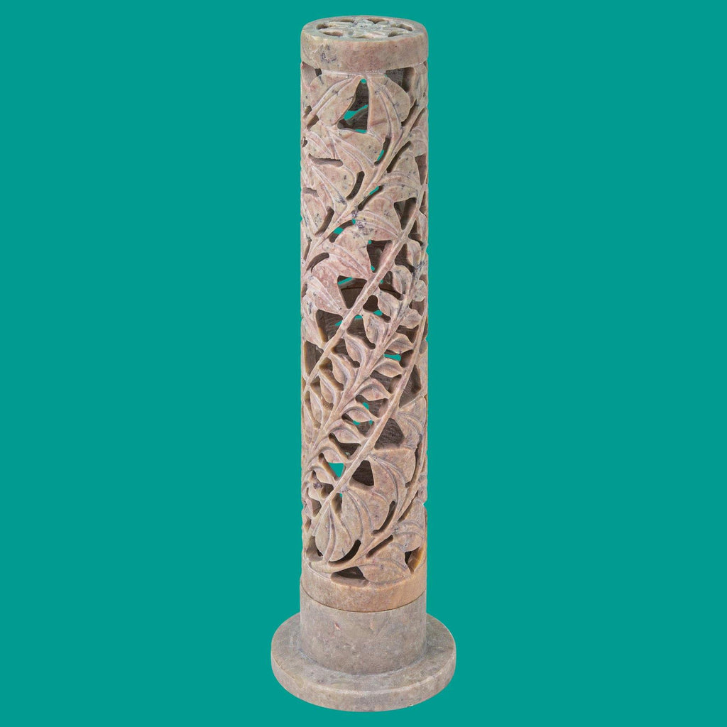 Hand Carved Soapstone Incense Tower