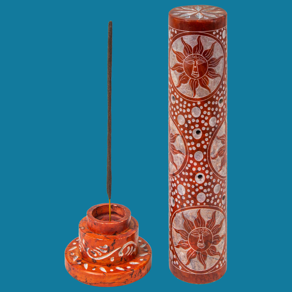 Sun Design Handcarved Soapstone Incense Tower