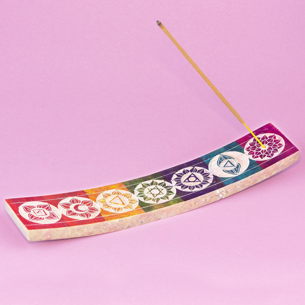 Multi Colour Carved Chakra Incense Holder