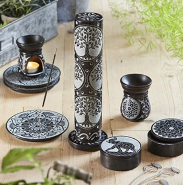 Black/Grey Soapstone Carved Incense Tower
