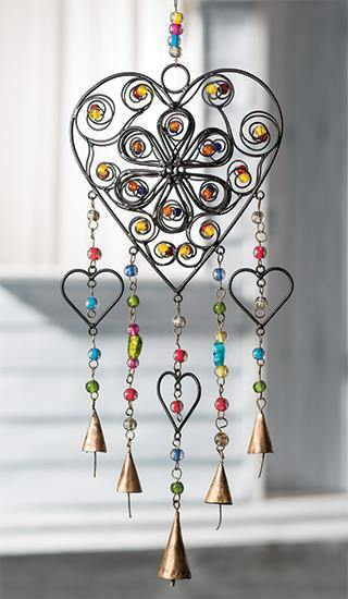 Heart Windchime with Mixed Beads