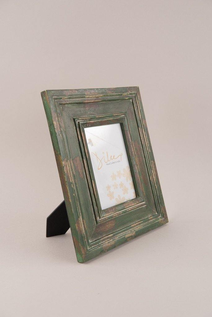 Distressed Finish Wooden Photo Frame in Green