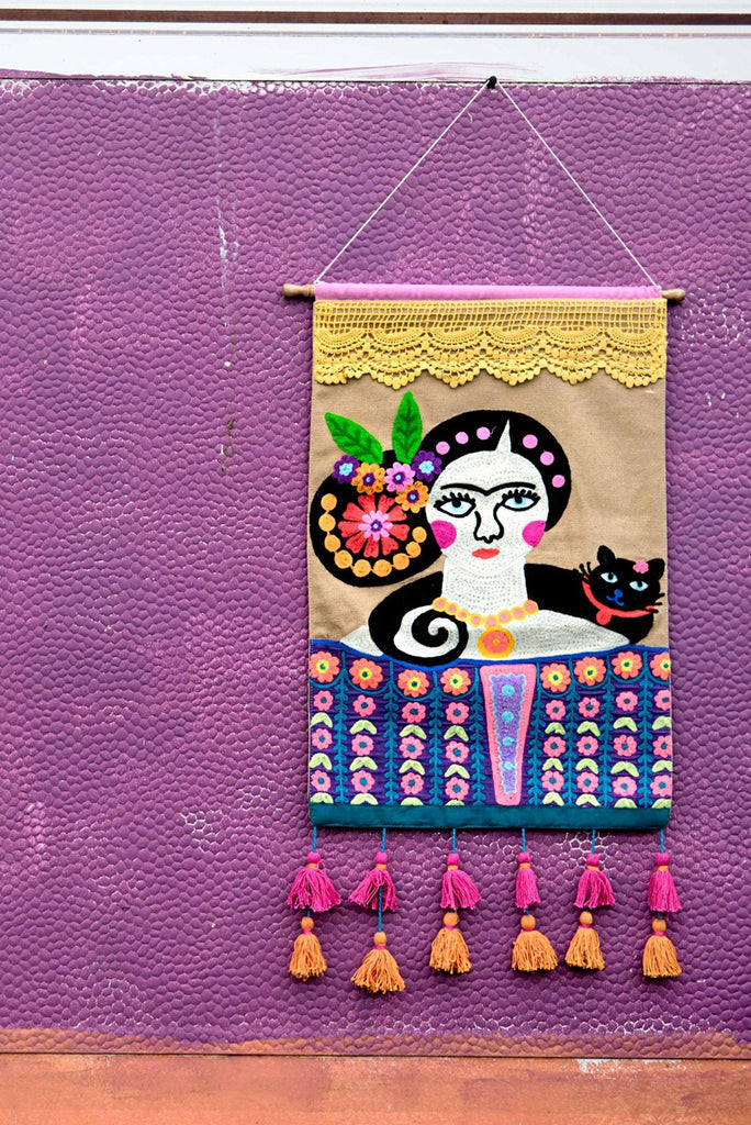 Frida Kahlo Embroidered Wall Hanging