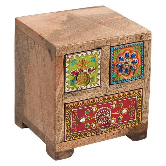 Hand Painted Indian Drawer Chest