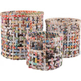 set of 2 recycled woven magazine baskets