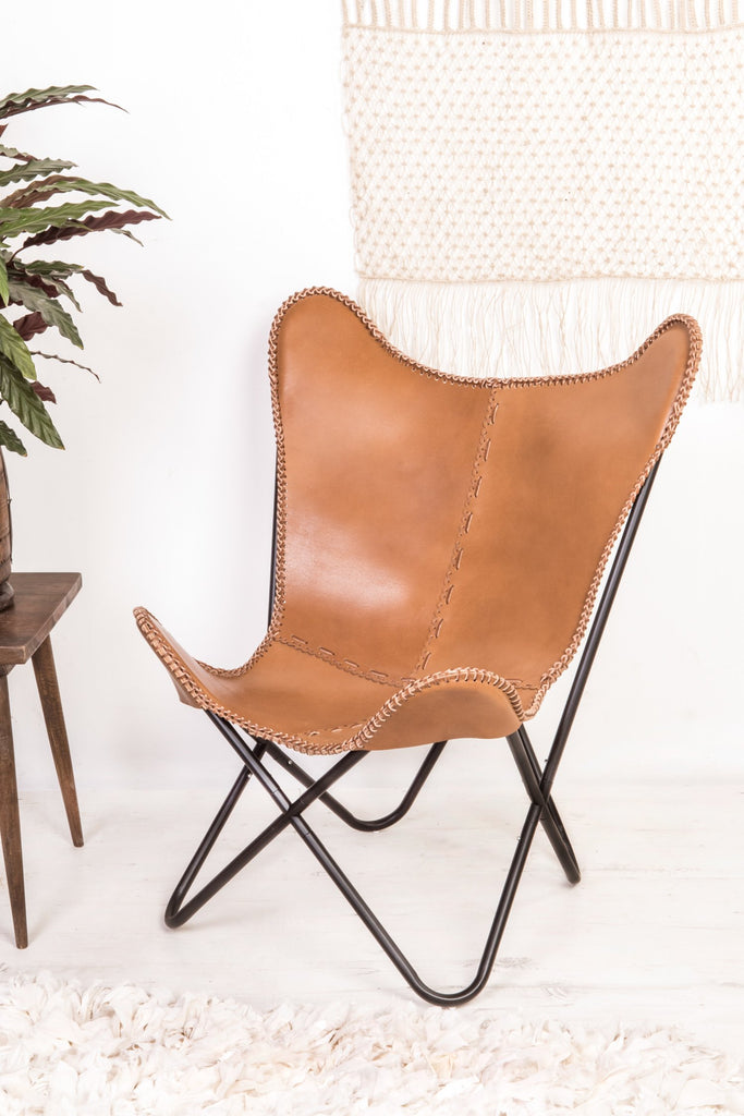 Tan Brown Leather Butterfly Chair