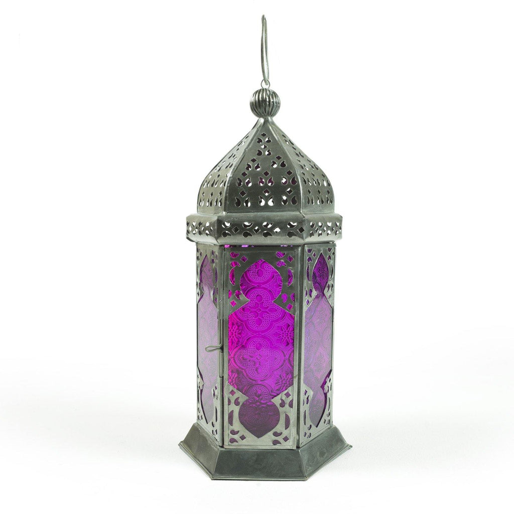 Moroccan Style Glass Lamp Lantern, Purple Glass Variation