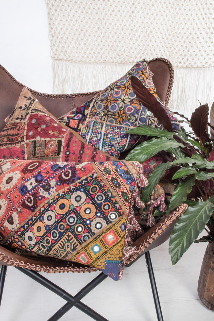 Old Tribal Embroidered Cushion with Fringes
