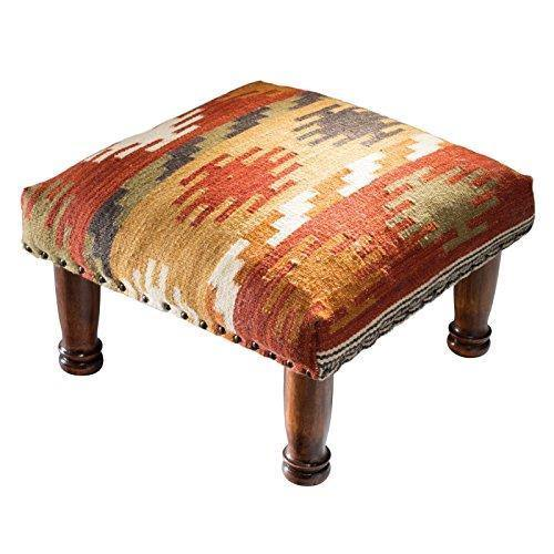 Maniyar Design Kilim Fabric Footstool