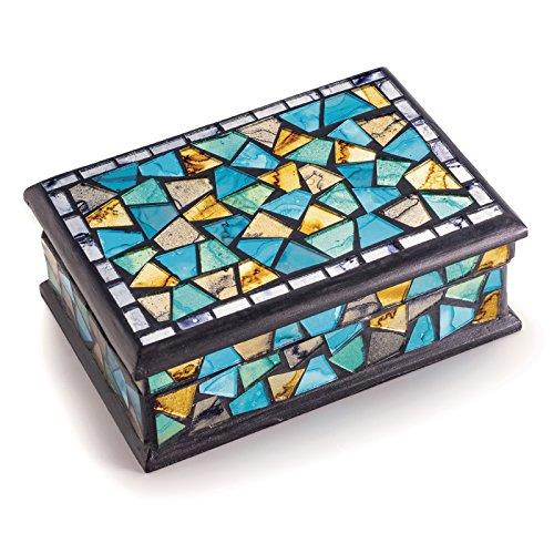 Turquoise and gold mosaic jewellery box
