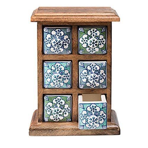 Blue & Green Mango Wood Spice Chest