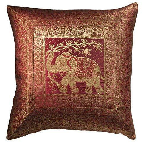 Elephant Brocade Cushion Cover
