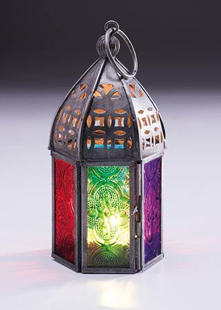 Mini Multi Colour Morrocan Glass Lantern