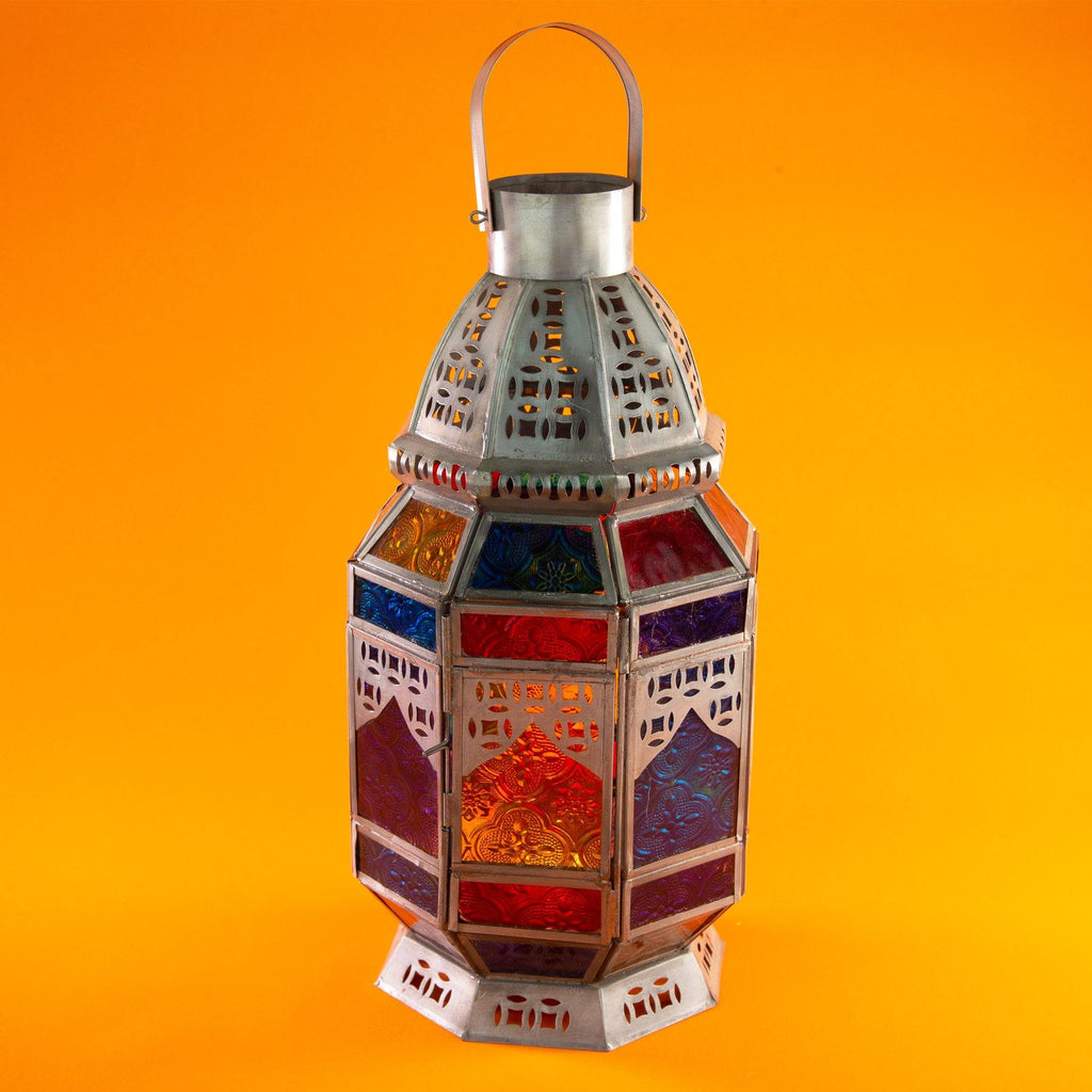 Moroccan Style Multi Colour Lantern with Door Closed