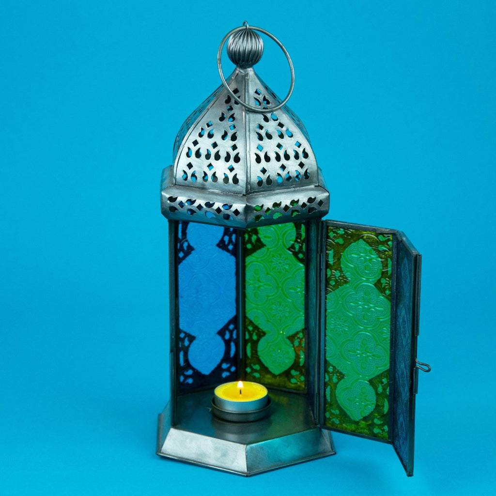 Moroccan Style Glass Lamp Lantern with Door Open